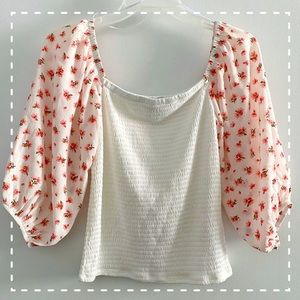 W floral balloon sleeve stretch panel top, white